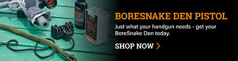 BoreSnake Den Pistol on dark background