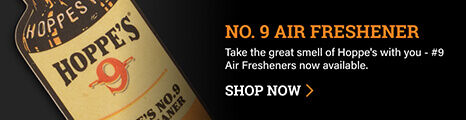 Hoppe's No. 9 Air Freshener on dark background