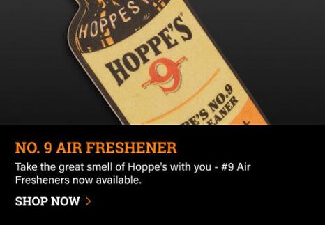 Hoppe's No. 9 Air Freshener on dark background